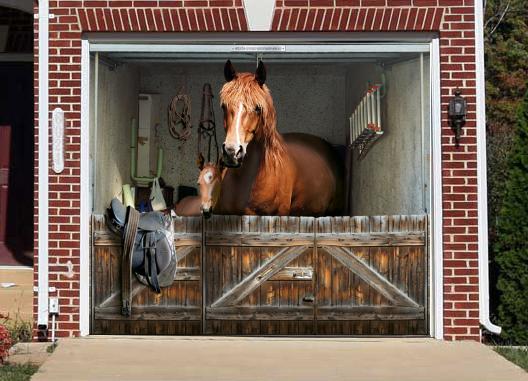 horse stable door mural