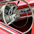 Red and White Classic Car Interior