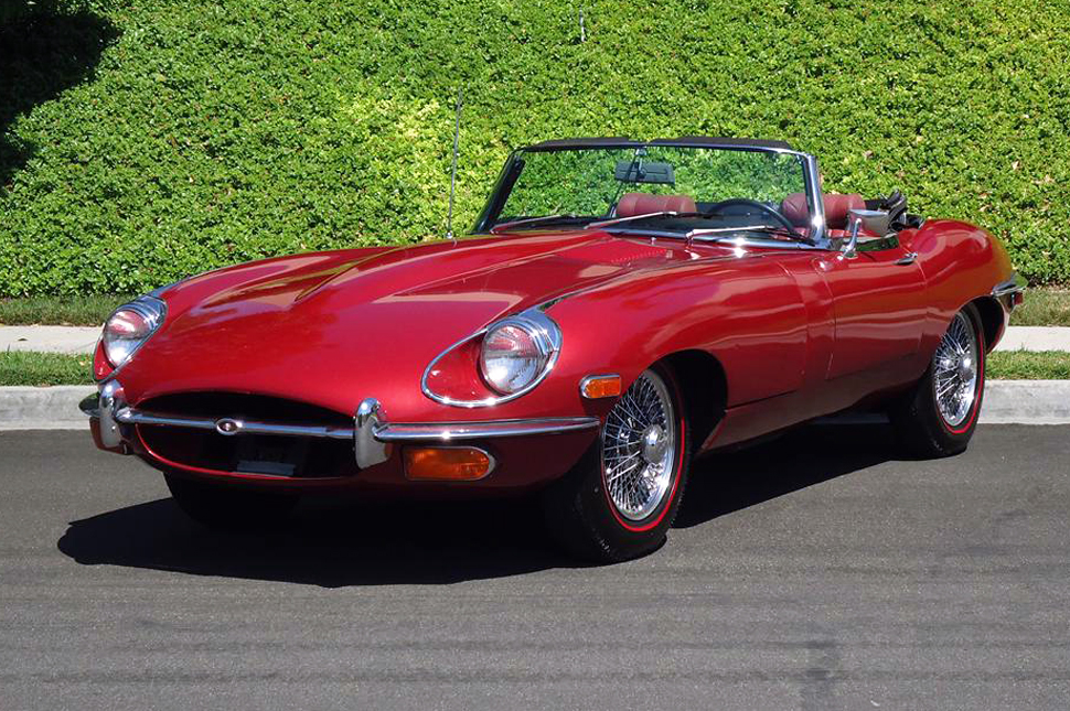 Red Jaguar XKE Convertible