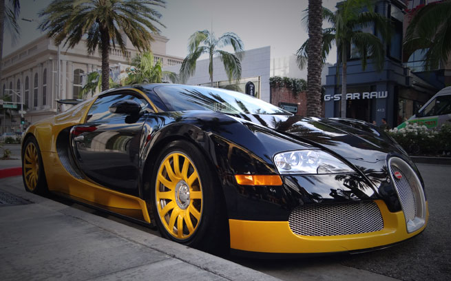 Custom Yellow Black Bugatti Veyron Spotted In Beverly Hills Zero