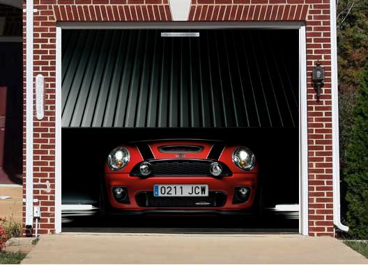 Interesting and funny garage door murals zero to 60 times for Garage mini cooper
