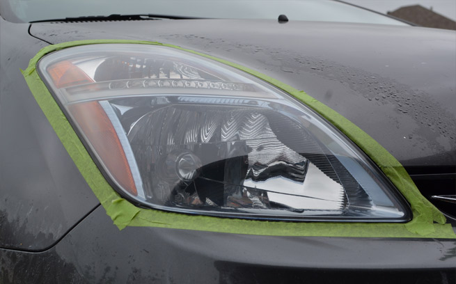 repaired car headlight