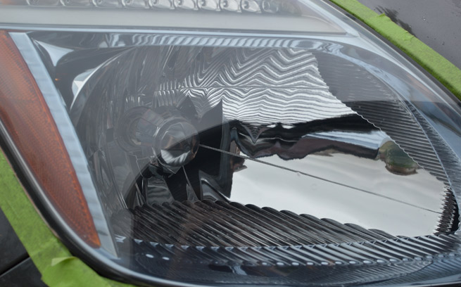 repaired car headlights