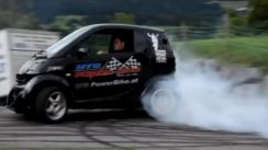 Smart Car with Hayabusa Turbo Engine doing Donuts & Burnouts!