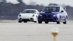 2015 Subaru WRX STI vs 2014 Porsche Cayman Standing Mile Test