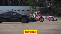McLaren P1 vs Porsche 918 Spyder vs Ducati 1199 Superleggera Drag Race