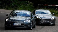 Tesla Model S takes on the Aston Martin Rapide S