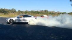 BURNOUTS! 2013 Tesla Model S P85 vs  1968 Pontiac Firebird 400 Convertible