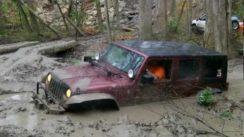 Jeep Wrangler Stuck Deep in the Mud