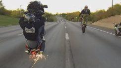 Hayabusa Motorcycle Stunts On the Streets   Wheelies + Drifts