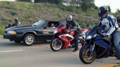Beater Mustang vs Super Bikes!