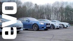 Drag race- BMW M5 vs Porsche Panamera S vs Mercedes E63 AMG vs Jaguar XFR