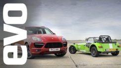 Porsche Cayenne vs Caterham 7 Track Battle