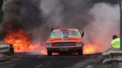 Muscle Car's Tires Catch Fire in Burnout Contest