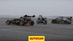 Ariel Atom V8 vs Rallycross Citroen DS3 vs BMW Superbike Drag Race