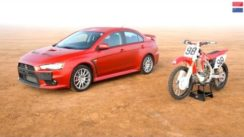 Mitsubishi Lancer Evolution GSR vs Honda CRF450R