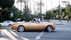 Gold Rolls Royce Causes a Car Crash