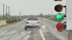 Super Fast Mitsubishi EVO at Drag Strip