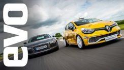 Audi R8 Plus vs Renault Clio Cup Race Car