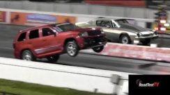 SRT8 Jeep vs Big Block Camaro  – Wheelstand Drag Race Video