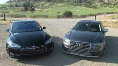 2013 Tesla Model S P85 vs Audi S8 0-60 Mashup Review